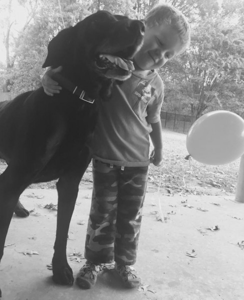 Small boy with large black dog